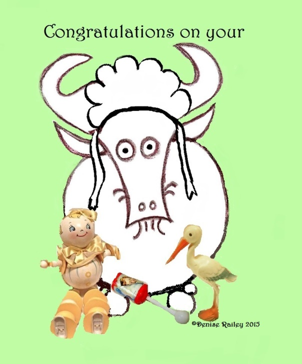 Wish a hearty congratulations on a gnu baby by sharing this delightful print available at http://1-denise-railey.artistwebsites.com/featured/congratulations-on-your-gnu-baby-denise-railey.html?viewall=true