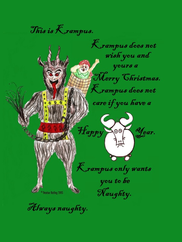 Krampus doesn't wish you anything but naughtiness. while Gnu wishes you a Happy Gnu Year. This piece is another request. All Gnus can be ordered in various formats by going here: http://1-denise-railey.artistwebsites.com/the+daily+gnus